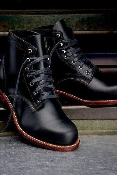 New Handmade Hunter Cap Toe Denim Casual Black Ankle Lace up Boots