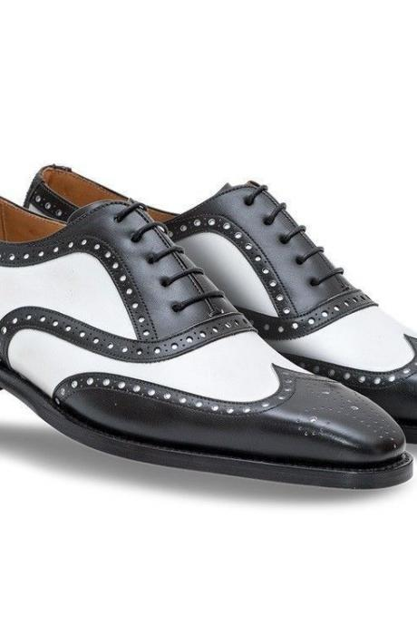 Handmade Oxford Brogue White Black Leather Brogue Wing Tip Leather Shoes Men