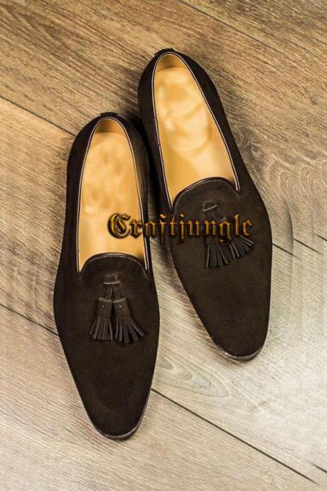 Handmade Loafer Suede Brown Wedding Office Dress Formal Moccasin Slippers Shoes