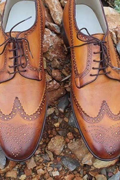 Handmade Men Wing Tip Brogue Oxford Stylish Office Trendy Formal Shoes