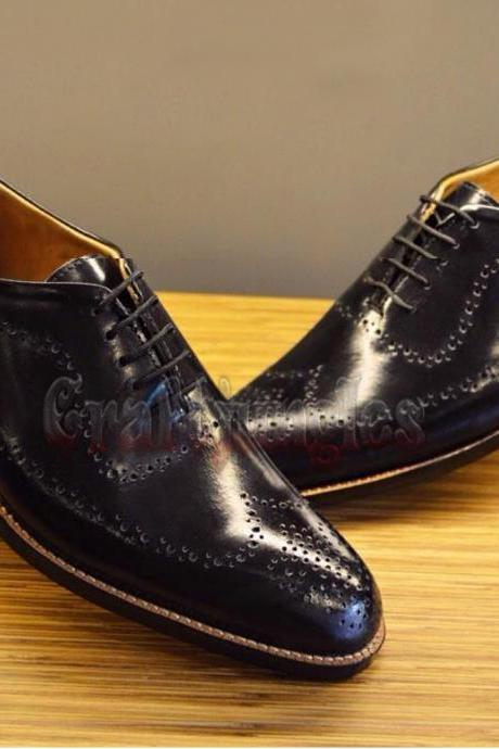 Handmade Black Brogue Leather Oxford Dress Formal Leather Shoes