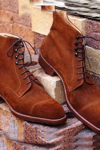 Handmade Cap Toe Ankle High Tan Suede Leather Formal Casual Dress Boots Men
