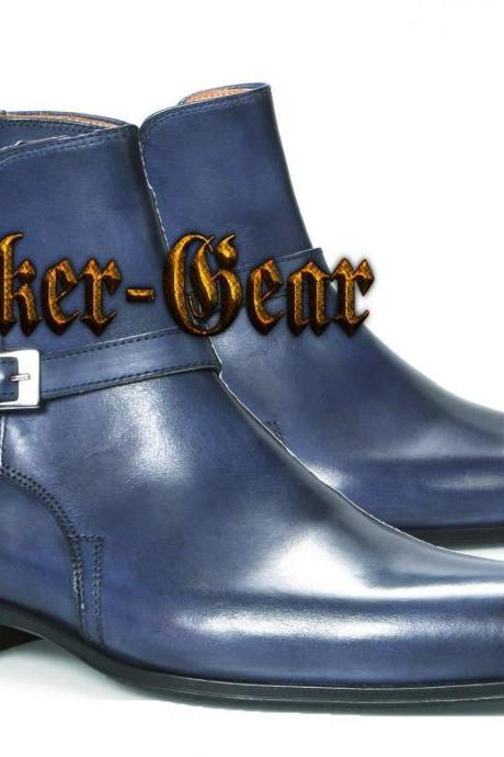 Handmade Navy Jodhpurs Dress Tuxedo Formal Casual Ankle High Monk Leather Boots