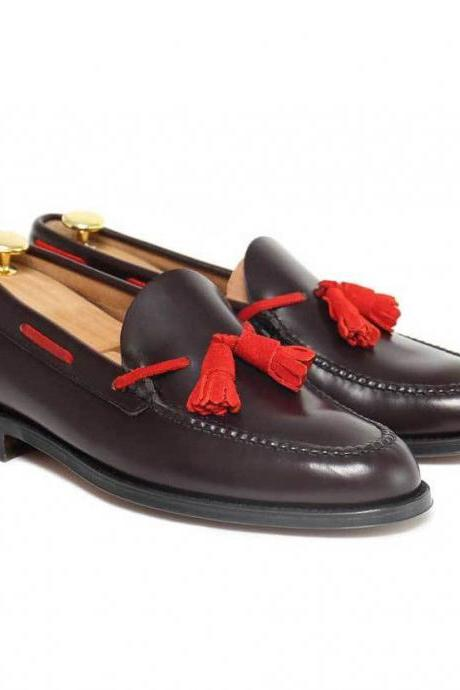 Handmade Men Loafer Leather Crimson Black Red Tassel Wedding Shoes