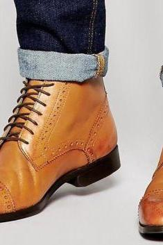 Handmade Men Oxford Brogue Tan Dress Formal Ankle Leather Boots