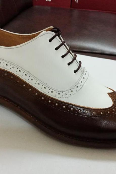 Handmade Men Dress Formal Oxford Leather shoes, Men White Brown Shoes