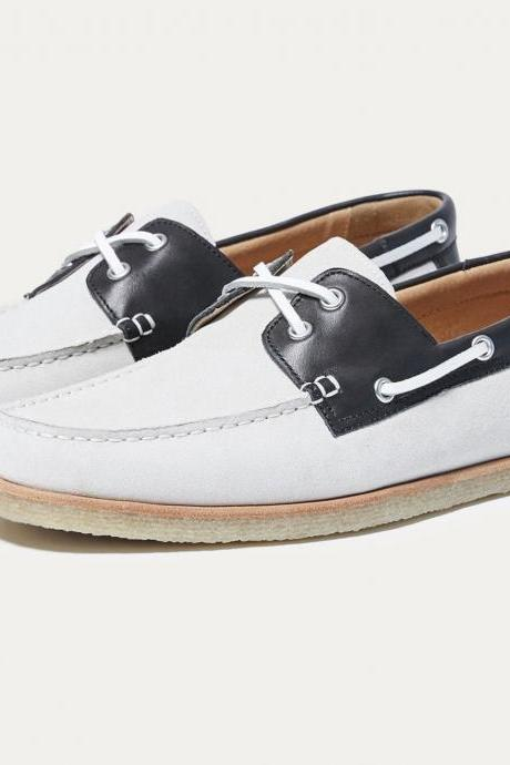 Handmade Men's Moccasin White Black Leather Dress Formal Casual Leather Shoes
