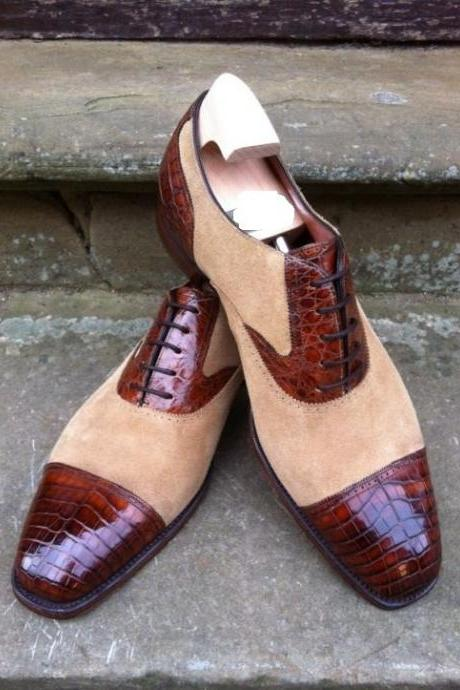 New Handmade Men Brown & Beige Shoes, Suede & Leather Crocodile Texture Captoe Shoes