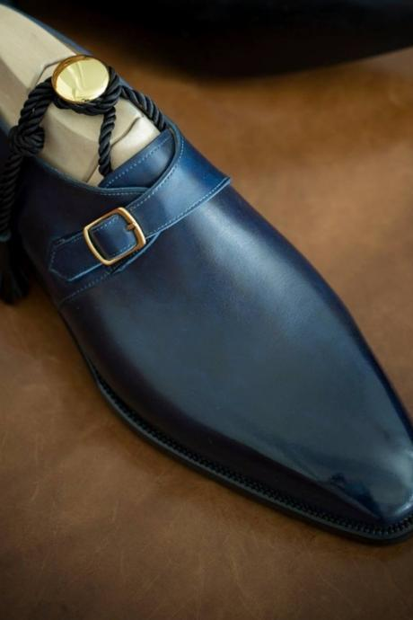New Men Handmade Blue Single Monk Leather Formal Boots