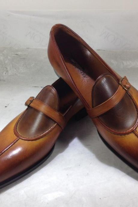 New Men Handmade Two Tone Brown Single Monk Strap Leather Shoes