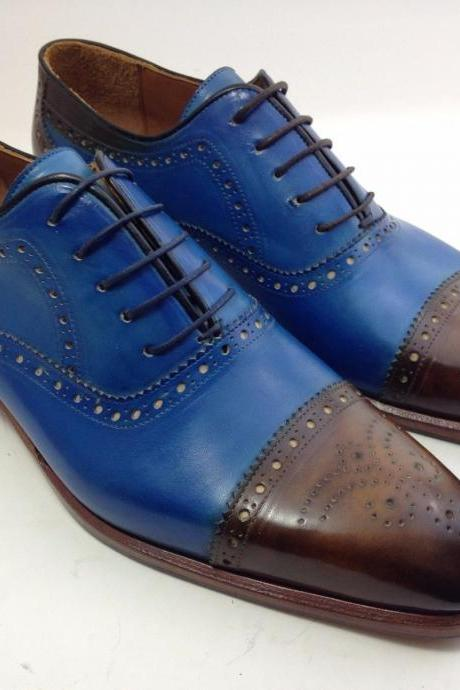 New Men Handmade Two Tone Blue & Brown Cap Toe Brogue Dress Leather Shoes