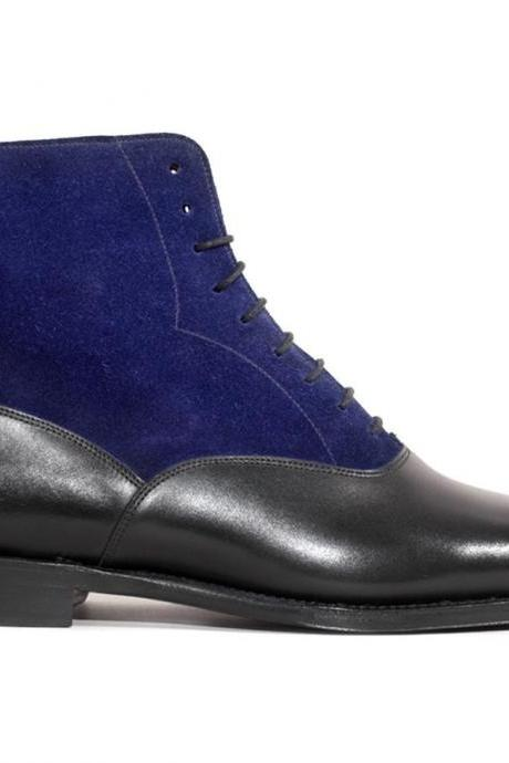New Handmade Men Two Tone High Ankle Leather & Suede Formal Boots