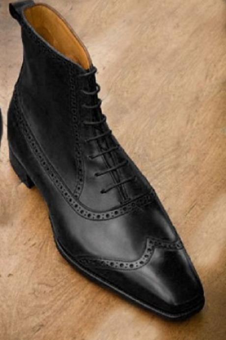 New Handmade Men Ankle High Lace Up Wing Tip Brogue Leather Formal Boots