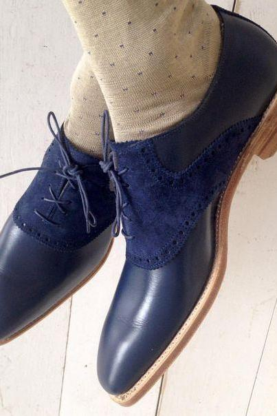 New Handmade Men Navy Blue Suede & leather Dress Formal Shoes