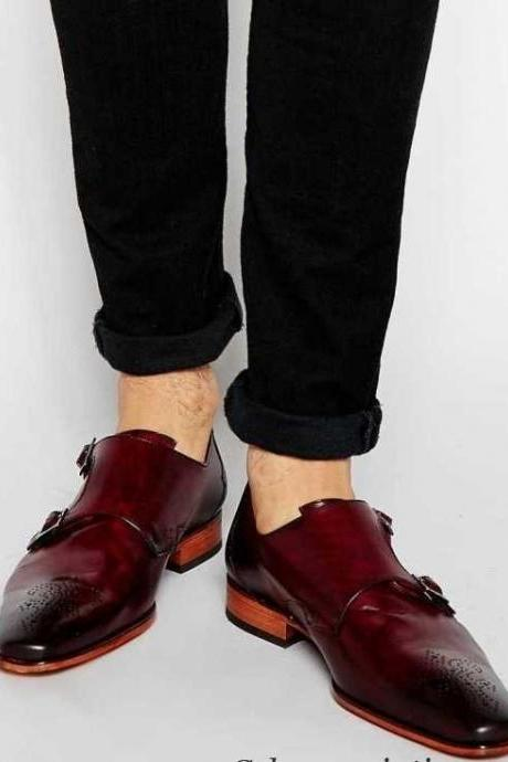 New Handmade Men burgundy Single Monk Strap Brogue Shoes