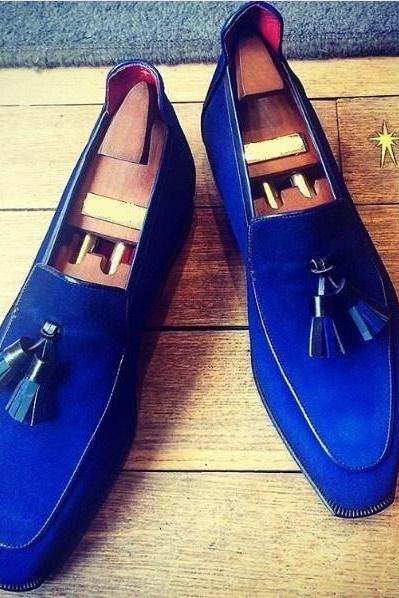 New Handmade Men Royal Blue Suede Loafers Formal Shoes