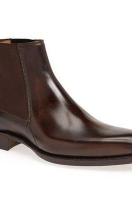 New Handmade Men Brown Chelsea Leather Boots
