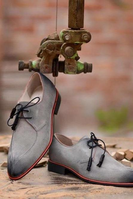 New Handmade Men Gray Suede Dress Formal Shoes
