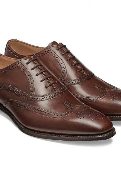 New Handmade Men Brown Wing Tip Brogue Leather Dress Formal Shoes