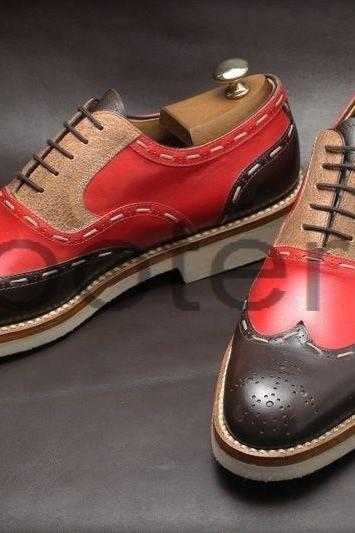 New Handmade Men Two Tone Wing Tip Brogue Suede & Leather Dress Formal Shoes