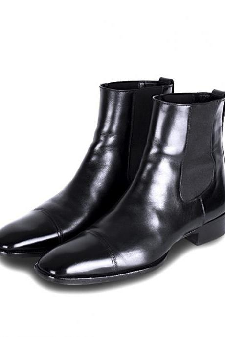 New Handmade Men Cap Toe Leather Chelsea Formal Boots