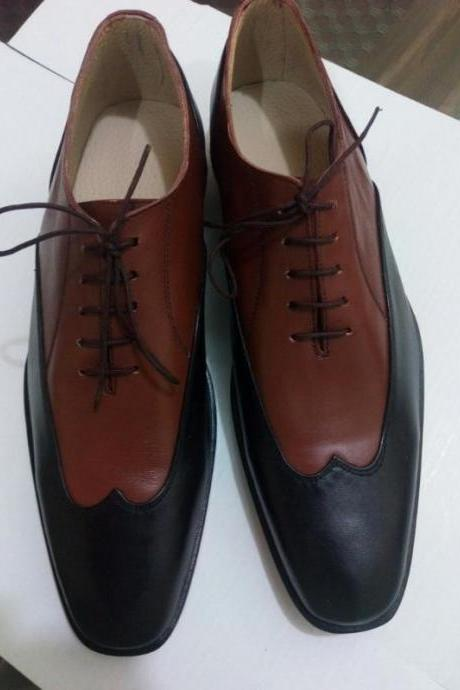 New Handmade Men Two Tone Wing Tip Black & Brown Leather Dress Shoes