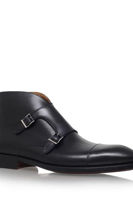 New Handmade Men Double Monk Strap Cap Toe Leather Shoes