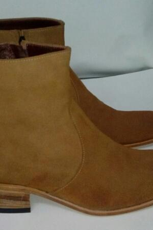 New Handmade Men Tan High Ankle Zip Suede Boots