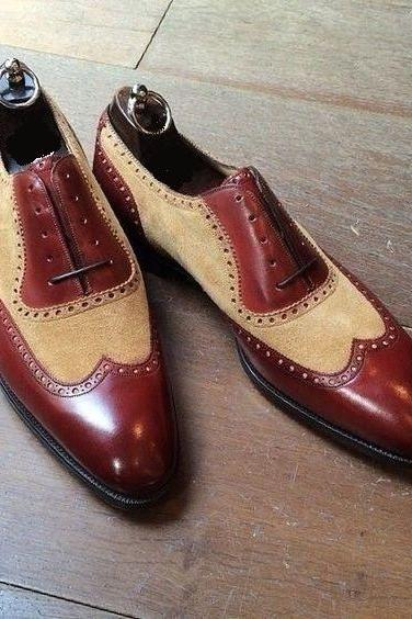 New Handmade Men Two Tone Wing Tip Brogue Brown Leather & Suede Shoes