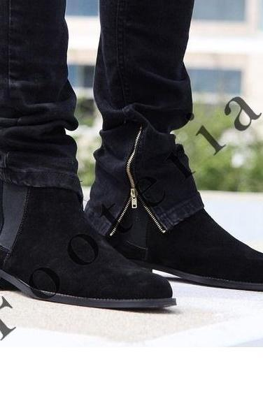 New Handmade Men Black Chelsea Suede dress Formal Boots