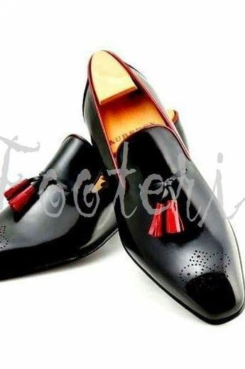 New Handmade Men Black Leather Brogue Moccasin Dress Formal Shoes