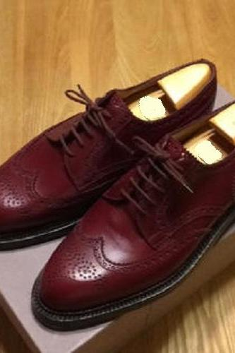 New Handmade Men Burgundy Wing Tip Brogue Lace Up Leather Formal Shoes