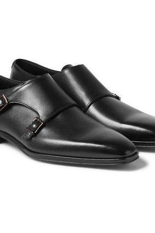 New Handmade Men Double Monk Strap Leather Shoes