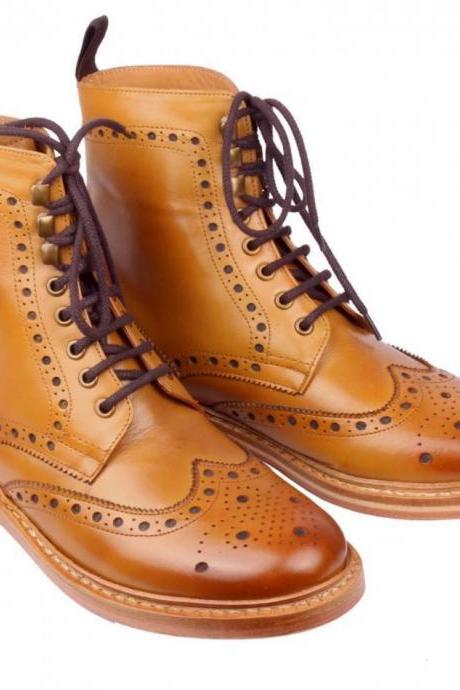 New Handmade Men Ankle High Lace Up Wing Tip Brogue Leather Shoes