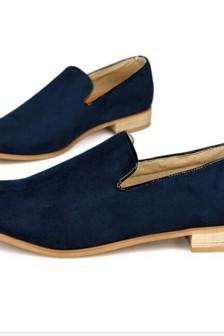 New Handmade Men Navy Blue Suede Loafers Shoes