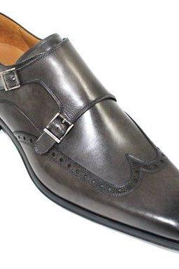 New Handmade Men Double Monk Strap Wing Tip Brogue Leather Formal Boots