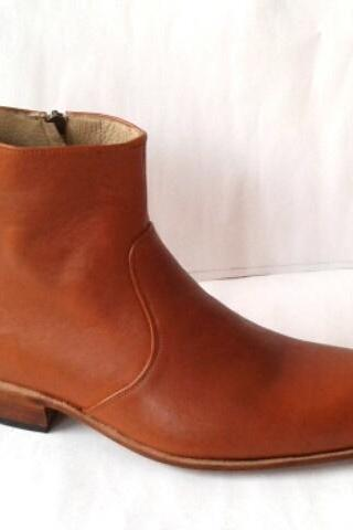 New Handmade Men Ankle High Zip Up Leather Dress Shoes