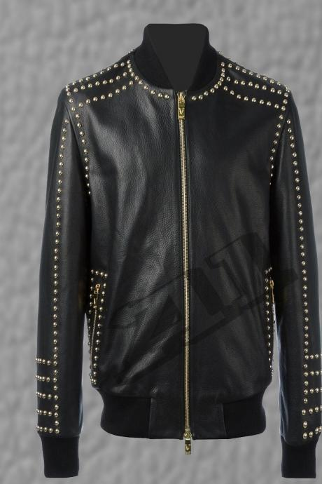 New Handmade Mens Blood Brothers Black Golden Studded Leather Jacket