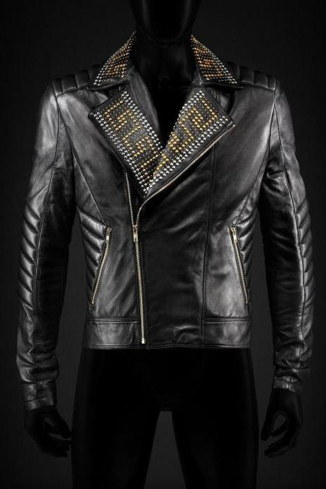 New Handmade Mens Versace H&M Golden & Silver Studded Biker Black Leather Jacket