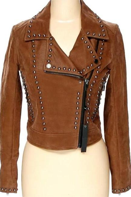 New Handmade Women Brown Genuine Leather Silver Studded Stylish Brando Style Jacket