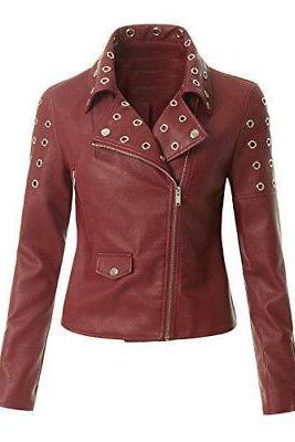 New Handmade Womens Zipper Studded Leather Red Biker Jacket
