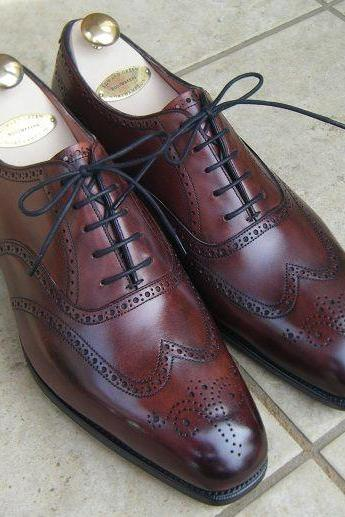 Handmade Men Leather Burgundy Wingtip Brogue Dress Formal Shoes