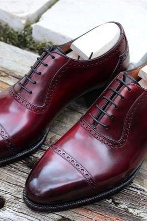 New Handmade Men Plain Cap Toe Pointed Tip Leather Maroon Shoes