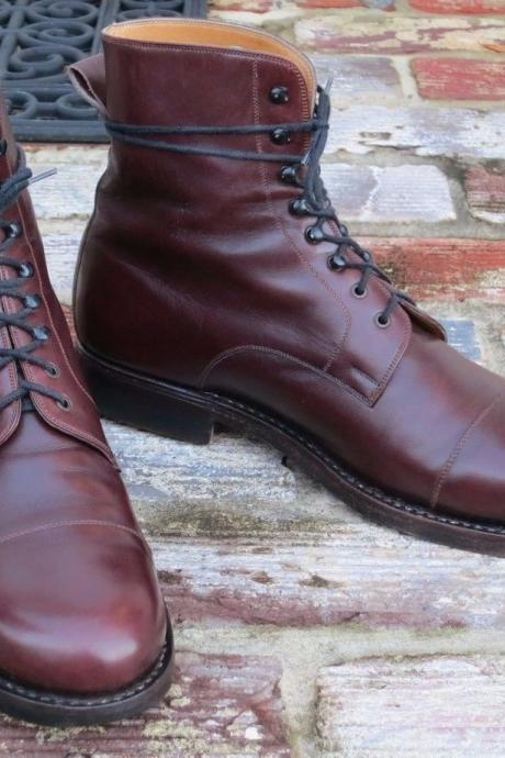 Handmade Men Cap Toe Burgundy Lace Up Ankle High Leather Boots