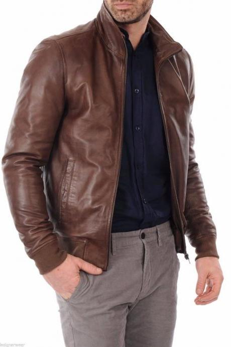 Mens Leather Jacket Motorcycle Real Lambskin Brown Biker Style Slim Fit Jacket