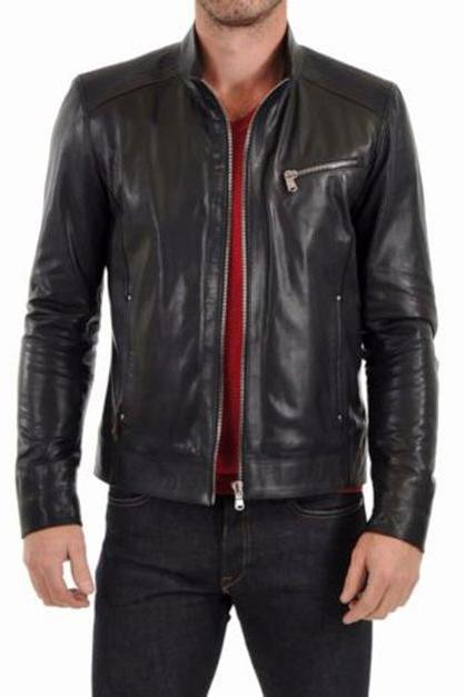 Mens Leather Jacket Motorcycle Lambskin Black Biker Style Slim Fit Jacket