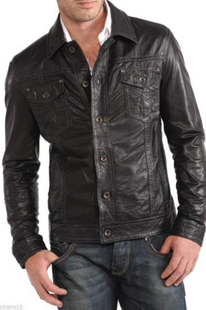 Handmade Mens Leather Jacket Motorcycle Black Biker Leather Button Jacket