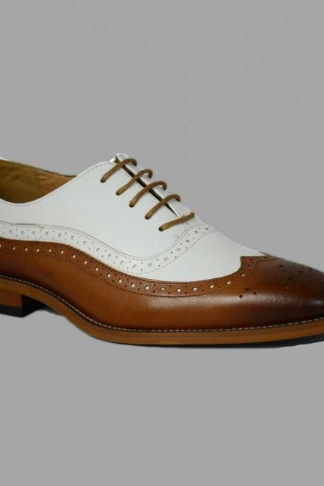 Oxford Wing Tip Shoes, Dress Formal Brown White Shoes, Men Office Leather Shoes