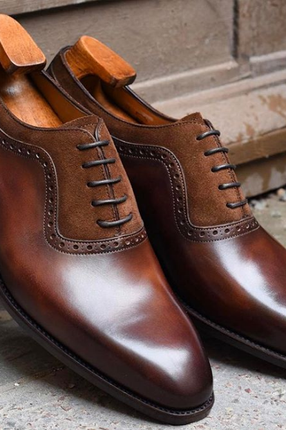 Handmade Derby Shoes, Brown Two Tone Leather Shoes, Men Formal Shoes