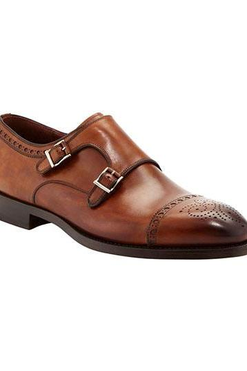 Oxford Leather Shoes, Genuine Leather Dress Cap Toe Brogue Lace-up Oxford Shoe